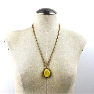 Vintage Yellow Floral Resin Pendant Sherman Chain